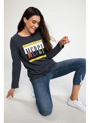 DeFacto Baskılı Uzun Kollu T-shirt Lacivert